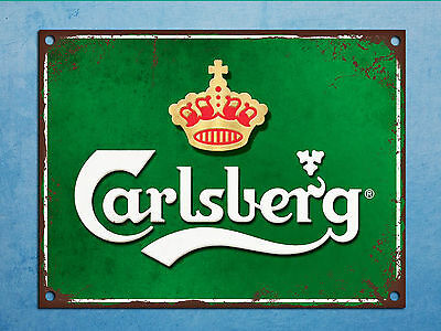 Metal plaque vintage retro style Carlsberg decorative tin wall door bar sign