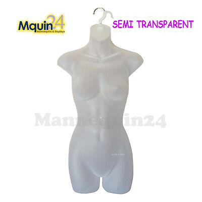 Female Hanging Dress Mannequin Form - Clear - Semi Transparent - Women Torso