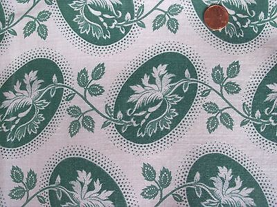 DOTTED OLD ROSES Ovals floral  GREEN Pico DOTS  feedsack VTG Cotton fabric piece
