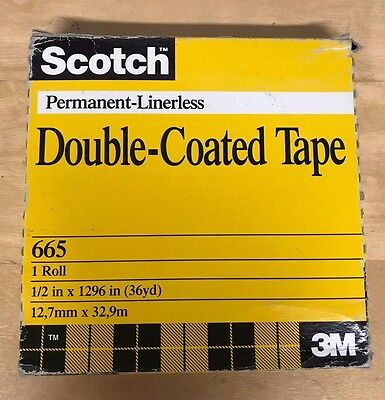 """Scotch Double Sided Office Tape, 3"""" Core  Permanent-Linerless New Factory Seal"""