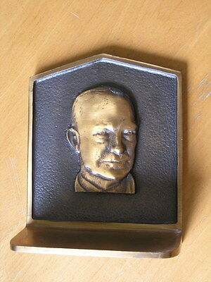 Single Bronze Bookend Sculpture President Dwight D. Eisenhower General Ike 1874g