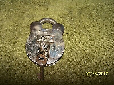 Antique Squire Old English SolId Brass Padlock  with 1 key