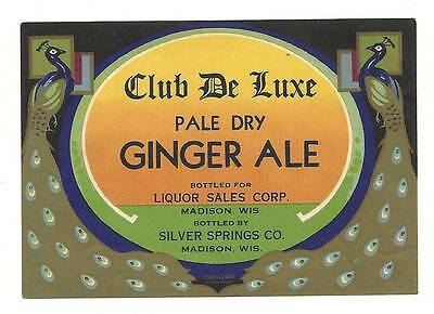 Vintage 1935 Club DeLuxe Ginger Ale Soda Label Silver Springs Co. in Madison Wi.