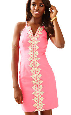 29f4824c22c $198 Lilly Pulitzer Pearl Bungalow Pink w/ Metallic Gold Lace Shift Dress