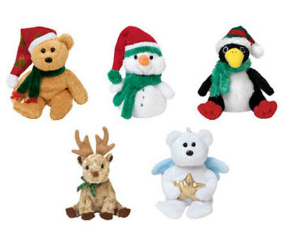 TY Jingle Beanie Babies -Holiday 2004 Complete set of 5 (Teddy, Melton, Toboggan