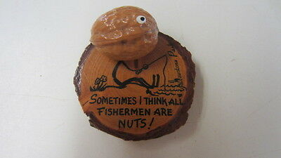 "Vintage Wood & Walnut ""Fishermen Are Nuts!"" Yellowstone Park Humorous Souvenir"