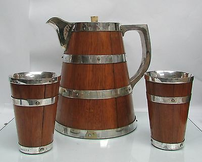 Antique Victorian English Oak Wood & Silver Plate Lemonade Pitcher & Beakers