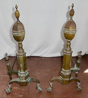 "Antique Solid Brass ANDIRONS. Urn Finials. Ball+Claw Feet. 30""H x14""W x30""D.1885"