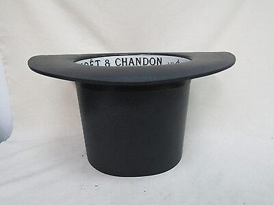 "Moet & Chandon Black Synthetic 7.5"" Top Hat Champagne Ice Bucket Made in France"