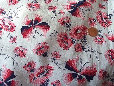 FANCY Red PINK BUTTERFLIES Navy MUMS floral feedsack VTG quilt cotton fabric pc