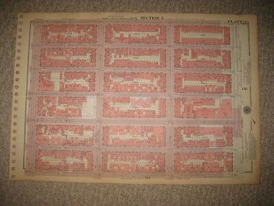 Antique 1955 First Second Third Avenue New York City Manhattan Map Theater Hotel