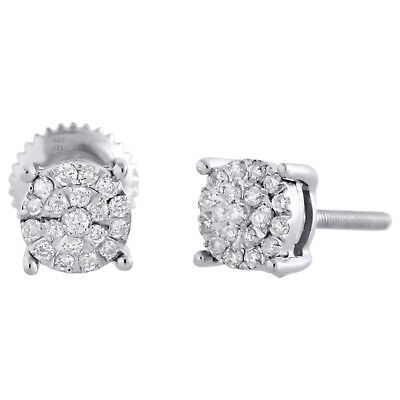 Diamond 4-Prong Mirror Set Studs 5.25mm .925 Sterling Silver Earrings 0.15 CT.