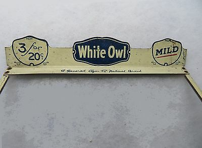 Vintage Glass & Metal Advertising Lid for Store Display Cigar Box WHITE OWL