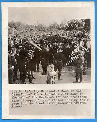 WW1 Regimental Band Playing For Troops Heading to Front 8x10 Original Photo