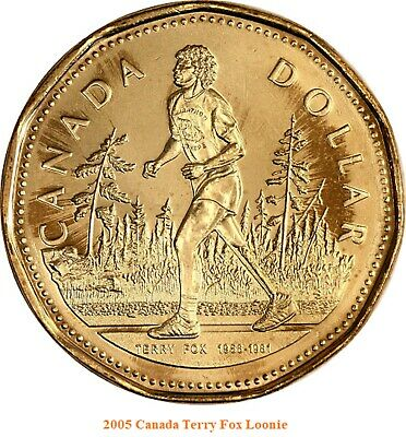 2005 Terry Fox Canada Loonie One Dollar Coin. (UNC.)