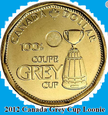 2012 Canada GREY CUP Loonie One Dollar Coin. (UNC.)