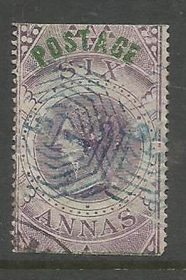 INDIA CLASSIC ~ 1866 FISCAL STAMP FOR POSTAGE 6a PURPLE (USED)
