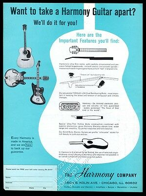 1967 Harmony electric acoustic guitar photo construction details blue print ad