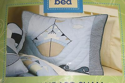 New NAUTICAL BOAT Quilted Standard Pillow Sham Embroidered Appliqued Blue
