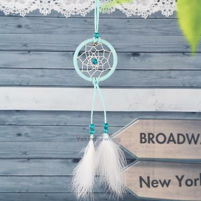 Mini Blue Dream Catcher Feather Car Home Wall Hanging Decoration Craft Gift