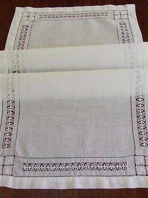 White Cotton Table Runner with Patterned Drawn Threadwork  & Ladder Stitch Hem