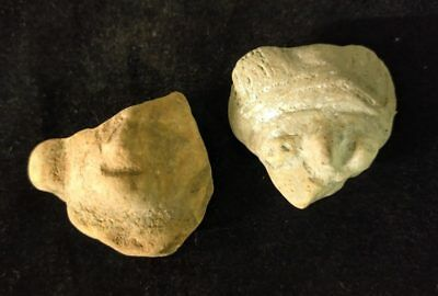 2 Mayan Cenote Yucatan Dig Pre-Columbian Clay Stone Ancient Artifacts Heads L4Z