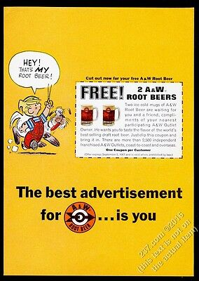 1967 Dennis the Menace and Ruff dog art A&W Root Beer vintage print ad
