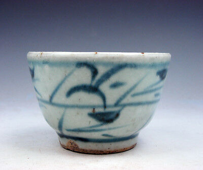 Antique Blue&White Glazed Porcelain Bamboo Hand Painted Tea Cup #07041707
