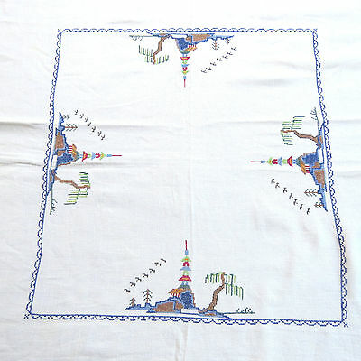 Vintage Linen Cross-Stitch Pagoda 50x50 Tablecloth  Square