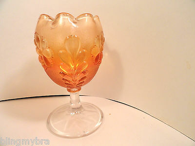 Vintage Carnival Glass Daisy & Plume Marigold Stemmed Compote Plain Top Mint