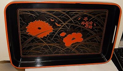 Japanese Lacquer Ware Orange Floral Tray