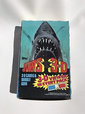1983 Topps Jaws 3-D Cards Box 35 Factory Sealed Packs 3D Viewer In Every pack