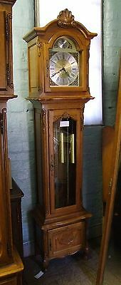 French Carved Oak Long Case Grandfather Clock  8 Day Westminster Chimes (COBC02)