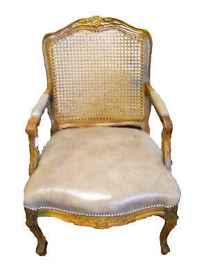 Vintage French Carved Oak, Bergere Canework & Leather Armchair - (117137B)