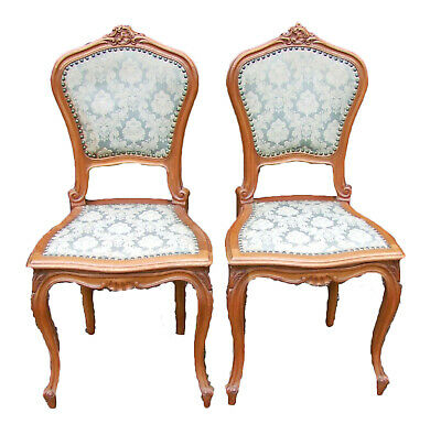 French Mahogany And Brocade Pair Of Bedroom Chairs - (Cfbc)