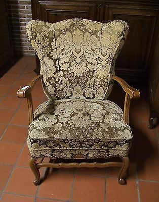 Louis Xv Style Vintage French Carved Oak Armchair - (030114)
