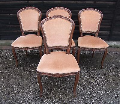Louis XV Style French Mahogany Set of 4 Dining/Bedroom Chairs  - (CPO1)