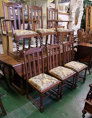 Quality Carved Oak Set of 6 Dining Chairs (4 + 2 Carvers)  - (001751)
