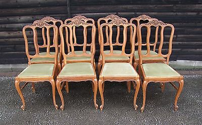 Louis Xv Style Vintage French Set Of 8 Dining Chairs  - (C58)