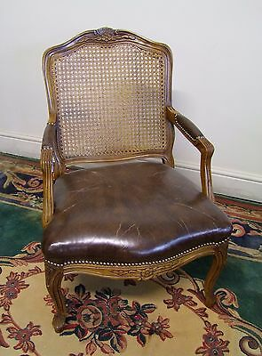 Vintage French Carved Oak, Bergere Canework & Leather Armchair - (117137A)