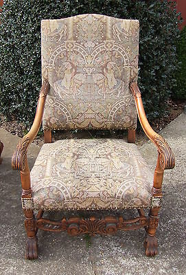 Lovely French Carved Oak Armchair -  (010043)
