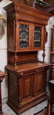 Quality French Carved Oak Hunting Cabinet/Cupboard - (010036/37)