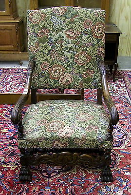 Superb Vintage French Carved Oak Armchair - Lovely Upholstery! (00071)