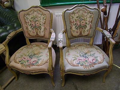 French Carved Oak And Needlepoint Ladies & Gents Pair Of Bedroom Chairs (Fpbc1)