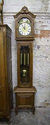 French Carved Oak Long Case Grandfather Clock 8 Day Westminster Chimes (COBC06)