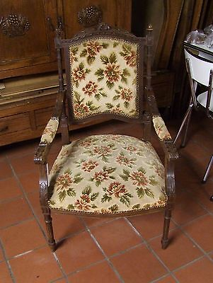 Louis Xv Style Vintage French Carved Dark Oak & Fabric Armchair - (030039)