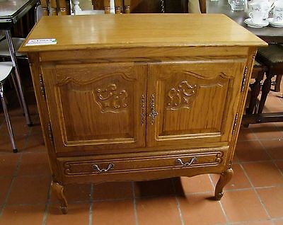 Louis Xv Style Vintage French Carved Oak 2 Door/1 Drawer Side Cabinet  (030064)