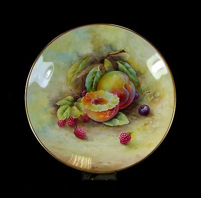 Hand Painted Minton Cabinet Plate - Yellow Plum - Arthur Holland.
