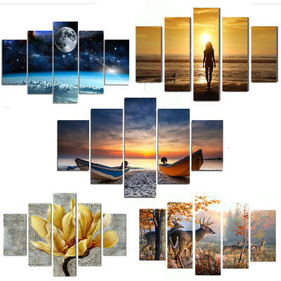 5Pcs Unframed Canvas Print Modern Home Decor Wall Art Landscape Painting Picture