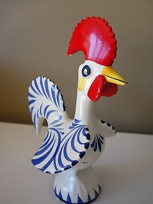 Retro ! Funky Ceramic  Red Rooster Portugal Souvenir Figure